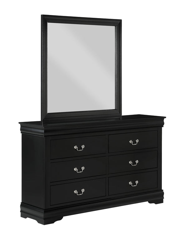 Louis Philip Black Mirror - Luna Furniture