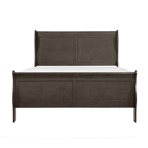 Louis Philip Stained Gray Queen Sleigh Bed - Luna Furniture