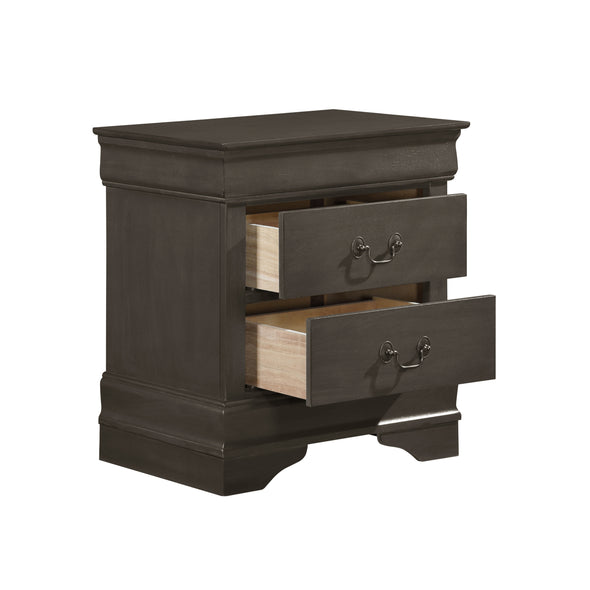 Louis Philip Stained Gray Nightstand - Luna Furniture