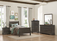 Louis Philip Stained Gray Youth Sleigh Bedroom Set *** - Luna Furniture