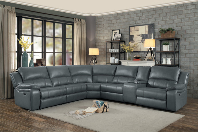 Falun Gray Leather Gel Power Reclining Sectional | 8260 - Bellaria Furniture HomeStore