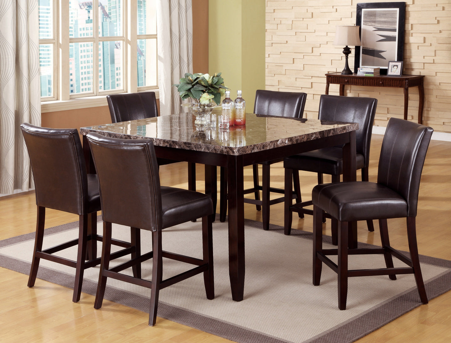 Ferrara Faux Marble-Top Counter Height Dining Set | 2721 - Bellaria Furniture HomeStore
