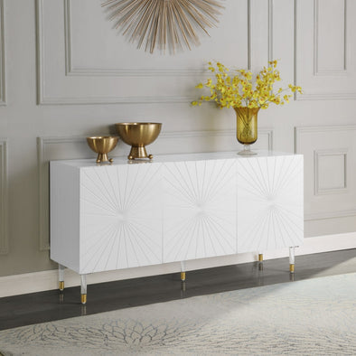 Starburst White Lacquer Sideboard Buffet - Luna Furniture