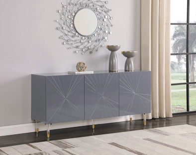 Starburst Gray Lacquer Sideboard Buffet - Luna Furniture