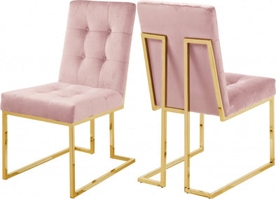 Pierre Velvet Pink Dining Chair, Set of 2