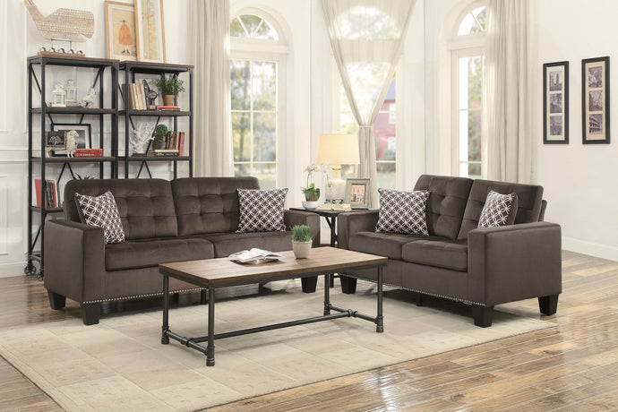 [SPECIAL] Lantana Chocolate Classic Living Room Set with Pillows | 9957