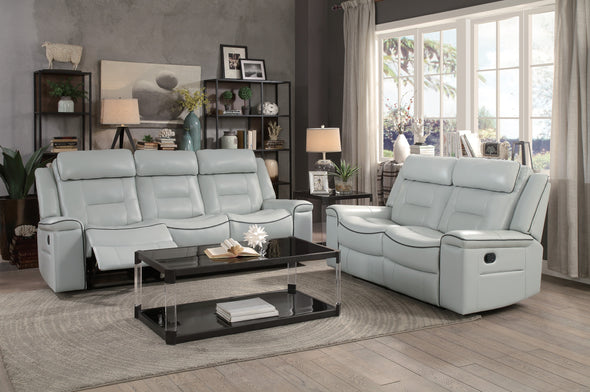 Darwan Light Gray Reclining Sofa - Luna Furniture