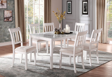 [SPECIAL] Nadalia White Faux Marble Top Dining Set - Luna Furniture