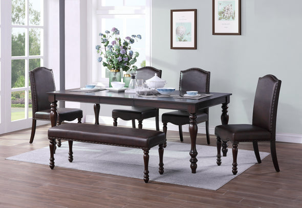 [SPECIAL] Hargreave Cherry Extendable Dining Set - Luna Furniture