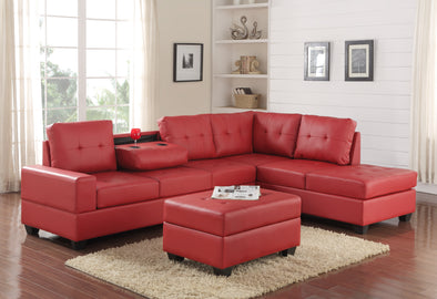 [HOT DEAL] Heights Red Faux Leather Reversible Sectional with Storage Ottoman