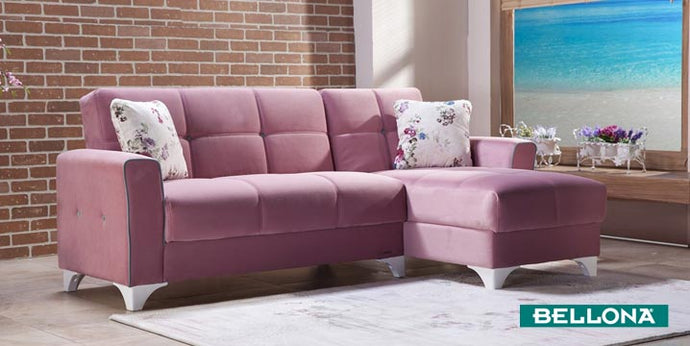 Tina Pink Reversible Sofa Chaise by Bellona