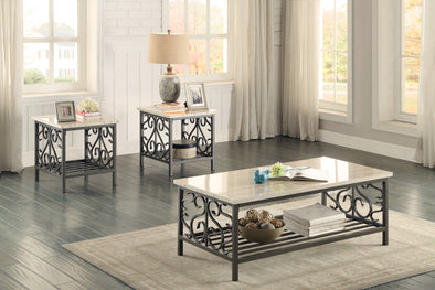 Fairhope Faux Marble-Top 3-Piece Occasional Table Set - Luna Furniture