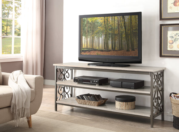 "Fairhope Faux Marble Top 62"" TV Stand - Luna Furniture"