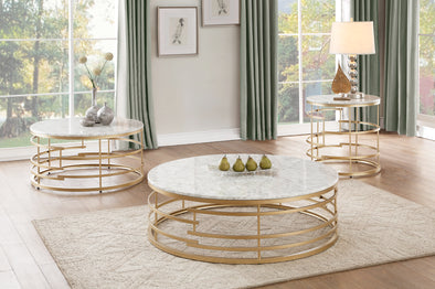 Brassica Gold Faux Marble-Top Round End Table