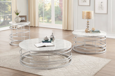 Brassica Silver Faux Marble-Top Round End Table