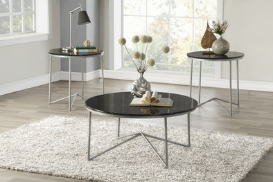 Perivale Black 3-Piece Faux Marble-Top Occasional Table Set - Luna Furniture