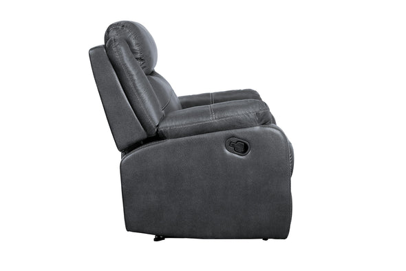 Yerba Gray Microfiber Lay Flat Reclining Chair - Luna Furniture