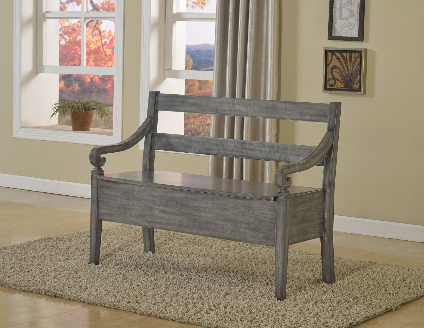 Kennedy 4183 Grey Storage Bench - Bellaria Furniture HomeStore