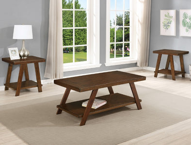 Samhorn Brown 3-Piece Coffee Table Set (1xCoffee 2xEnd) - Luna Furniture