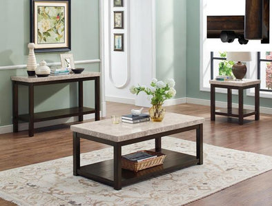 Kelia Marble Top 3-Piece Coffee Table Set (1xCoffee 2xEnd) - Luna Furniture