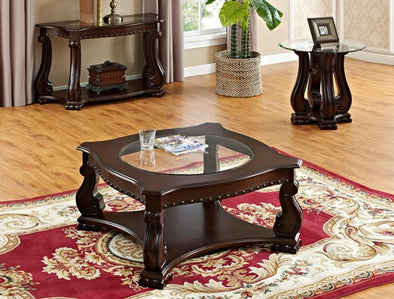 Madison Brown Wood 3-Piece Coffee Table Set (1xCoffee 2xEnd) - Luna Furniture