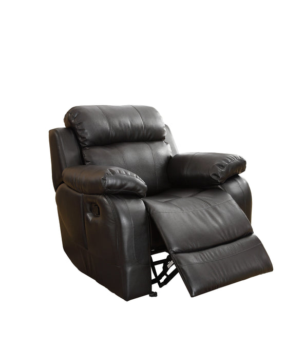 Marille Black Bonded Leather Reclining Chair - Luna Furniture