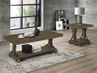 Quincy Grayish Brown 3-Piece Coffee Table Set (1xCoffee 2xEnd) - Luna Furniture
