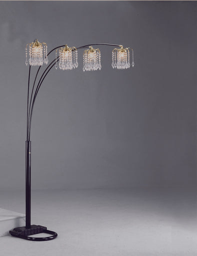 "Rain Drop Arc Black 84"" Floor Lamp"