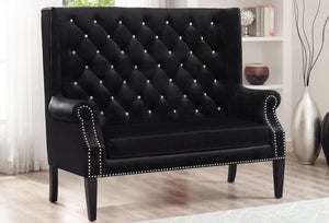 Odina Black Velvet High Back Loveseat | 4943 - Bellaria Furniture HomeStore