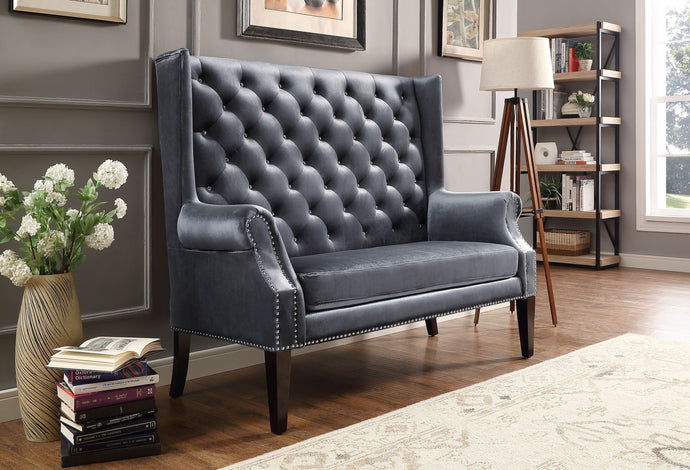 Odina Gray Velvet High Back Loveseat | 4943 - Bellaria Furniture HomeStore