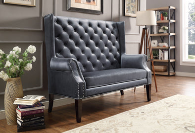 [SPECIAL] Odina Velvet Gray High Back Loveseat - Luna Furniture