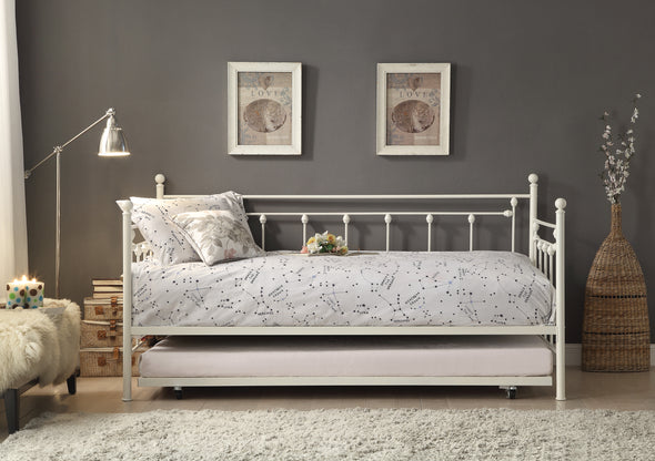 Lorena White Metal Daybed with Trundle - Luna Furniture