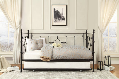 Auberon Black Metal Daybed with Trundle