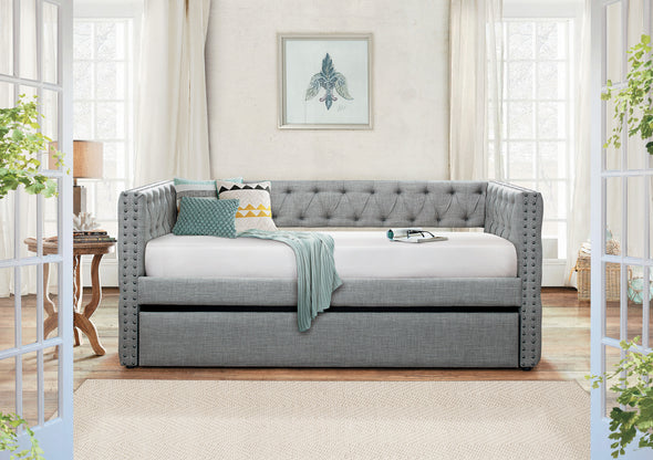 Adalie Gray Twin Daybed with Trundle - Luna Furniture