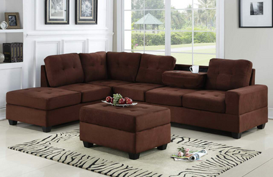 [SPECIAL] Heights Chocolate Reversible Sectional with Storage Ottoman - Luna Furniture