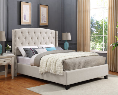 Eva Ivory Upholstered King Bed - Luna Furniture