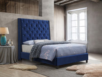 Chantilly Blue Velvet Upholstered Queen Bed - Luna Furniture