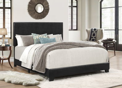 Erin Black Faux Leather King Bed - Luna Furniture