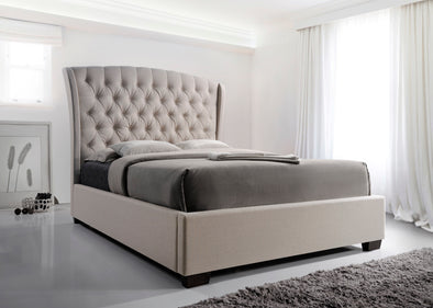 Kaitlyn Beige Upholstered King Platform Bed