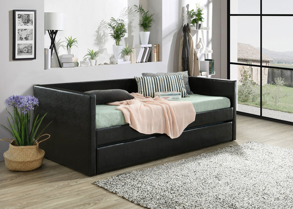 Sadie Faux Leather Daybed with Trundle - Luna Furniture