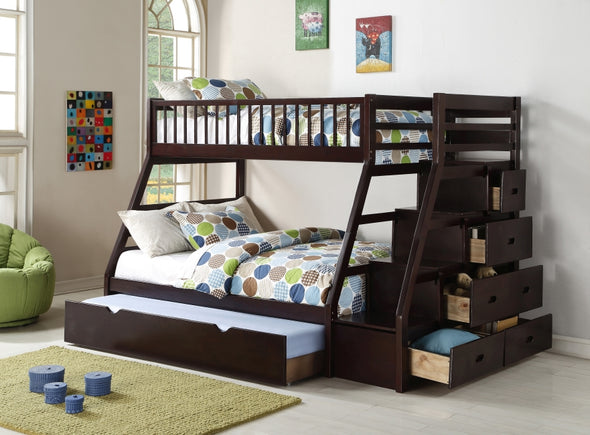 Happy Espresso Twin over Full Staircase Bunk Bed with Trundle - Luna Furniture