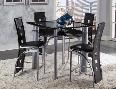 Sona Black/Silver Counter Height Chair, Set of 2 | 5532