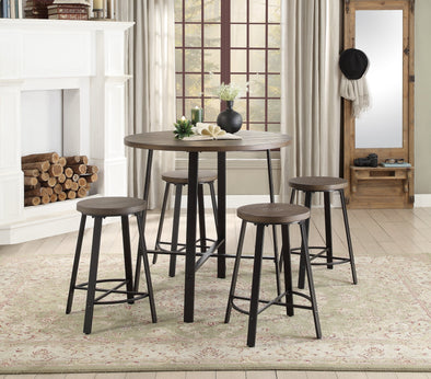 Chevre Brown Round Counter Height Stool, Set of 2 | 5607