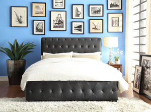 Baldwyn Black Vinyl Queen Sleigh Bed | 5789