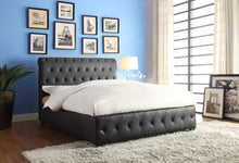 Load image into Gallery viewer, Baldwyn Black Vinyl Queen Sleigh Bed | 5789