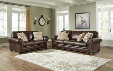 [EXCLUSIVE] Roleson Walnut Leather Sofa and Loveseat