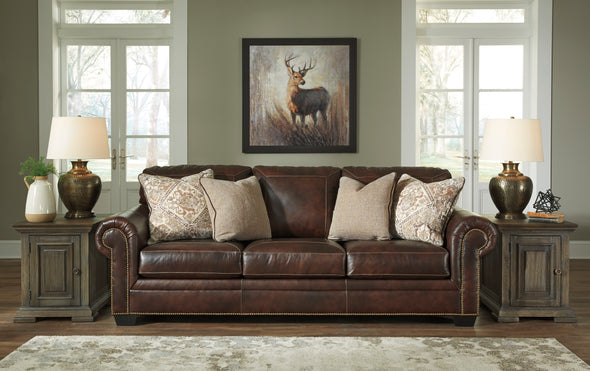 Roleson Walnut Leather Living Room Set - Luna Furniture