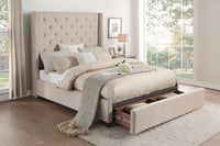 Fairborn Beige Tufted Full Platform Bed with Storage Footboard - Luna Furniture