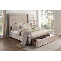 Fairborn Beige Queen Platform Bed with Storage Footboard - Luna Furniture