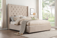 Fairborn Beige Tufted Queen Platform Bed - Luna Furniture
